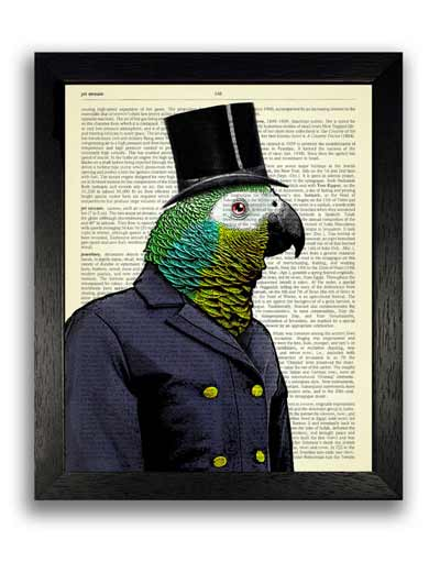 parrot dictionary artwork print