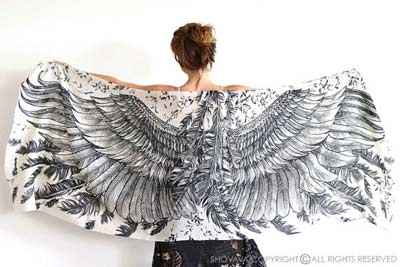bird feathers shawl