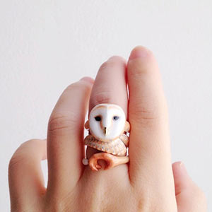 enamel barn owl ring