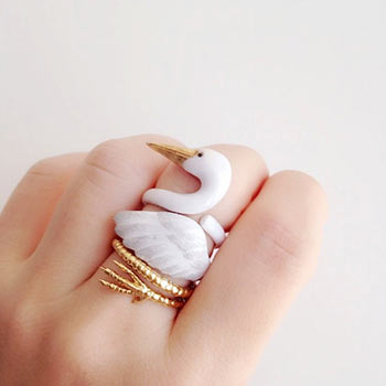 enamel crane ring set