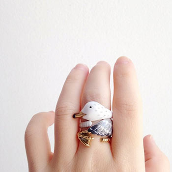 enamel seagull ring set