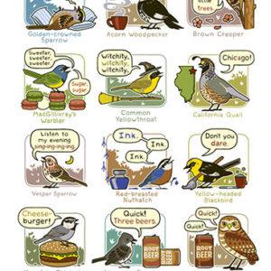 mnemonics bird call poster western north america