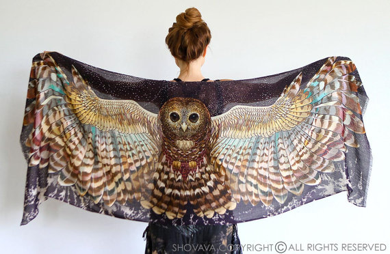 owl wings bird scarf
