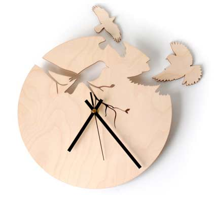 wood bird wall clock