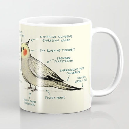 anatomy of a cockatiel mug