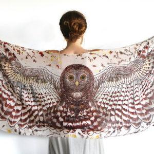 brown owl scarf shawl