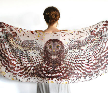 brown owl scarf shawl