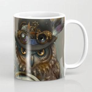 steampunk owl coffee mug