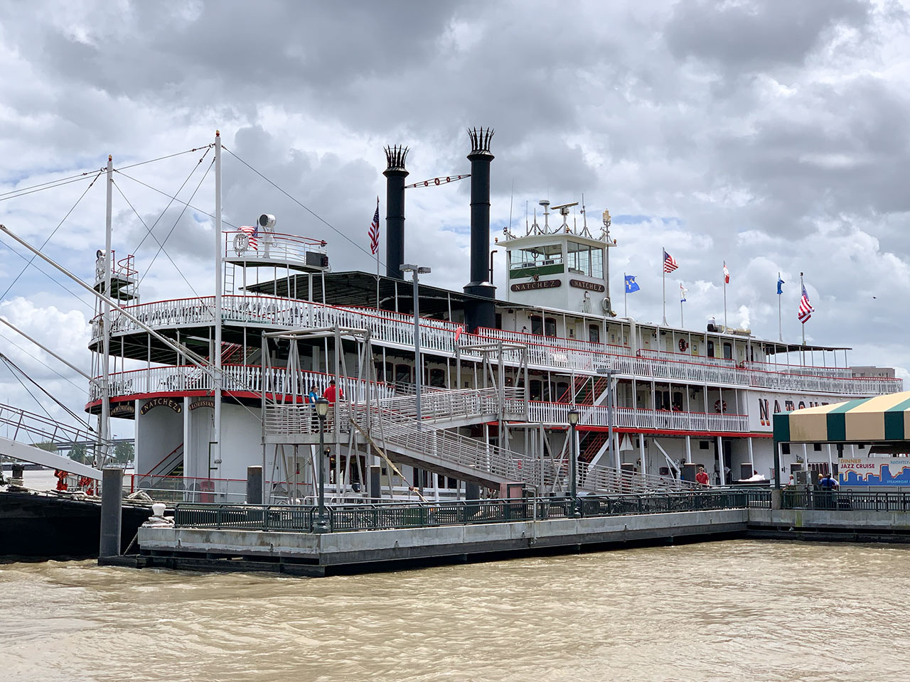 sideview of the steamboat natchez
