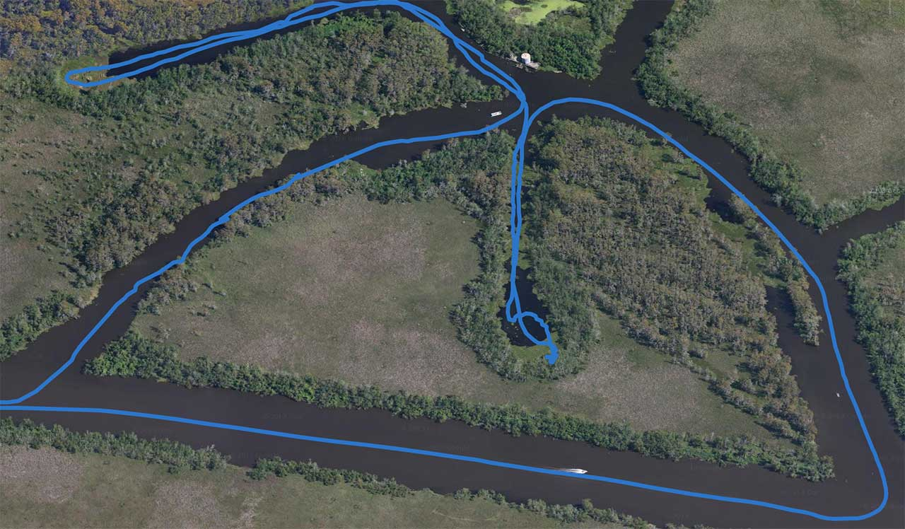 a map view with travel line of the swamp tour boat path in new orleans bayou