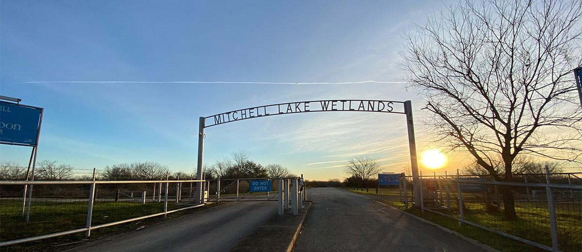 mitchell lake audubon center entrance gate