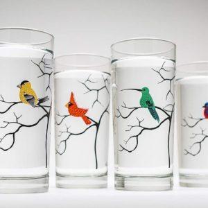 bird lover glassware gift set of 4 glasses