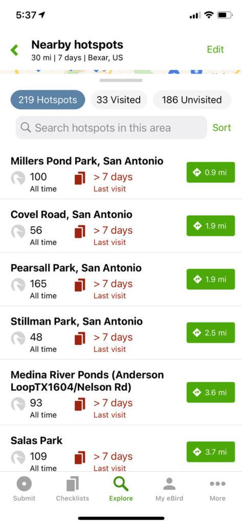 eBird App explore hotspots list view