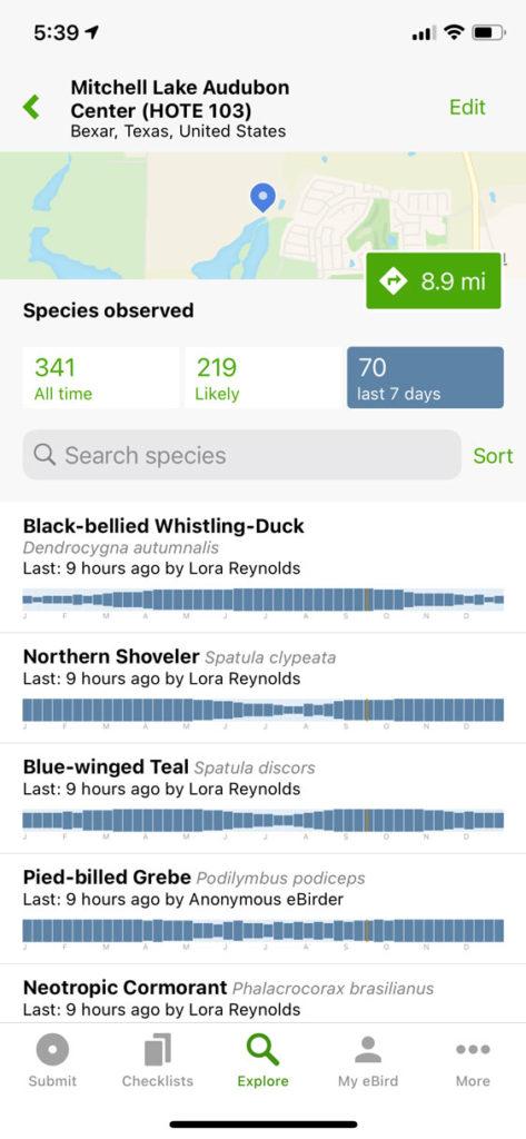 eBird app explore hotspots hotspot detail page